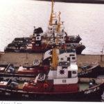 Hafenansicht 030: Schlepperponton Neumühlen im September 1989