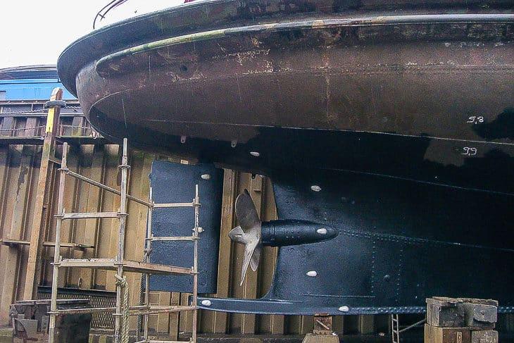 Die Schraube und das Ruder eines HADAG-Typschiffs