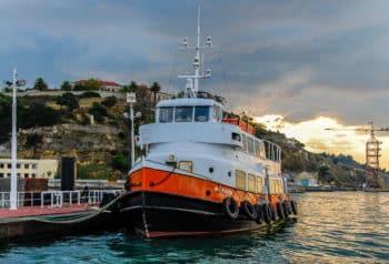 Die ehemalige HADAG-Hafenfähre OTTENSEN im Jahr 2008 als MOURARIA in Lissabon