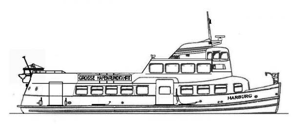 Skizze: HADAG-Fähre HARBURG (Typ II)