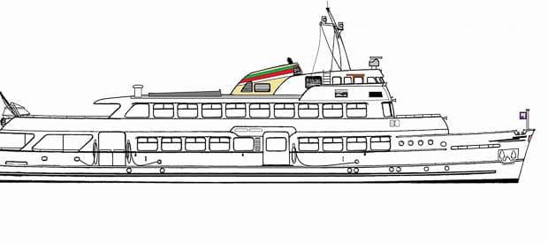 Skizze: HADAG-Hafenfähre BÜRGERMEISTER MÖNCKEBERG (Zustand 1985)