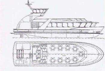 Bauplan: HADAG-Hafenfähre ALTENWERDER (Typ2000) vor dem Anbau eines Wulstbugs