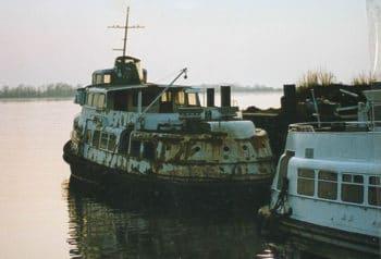 Die ehemalige HADAG-Hafenfähre STADERSAND 1991 in Wedel