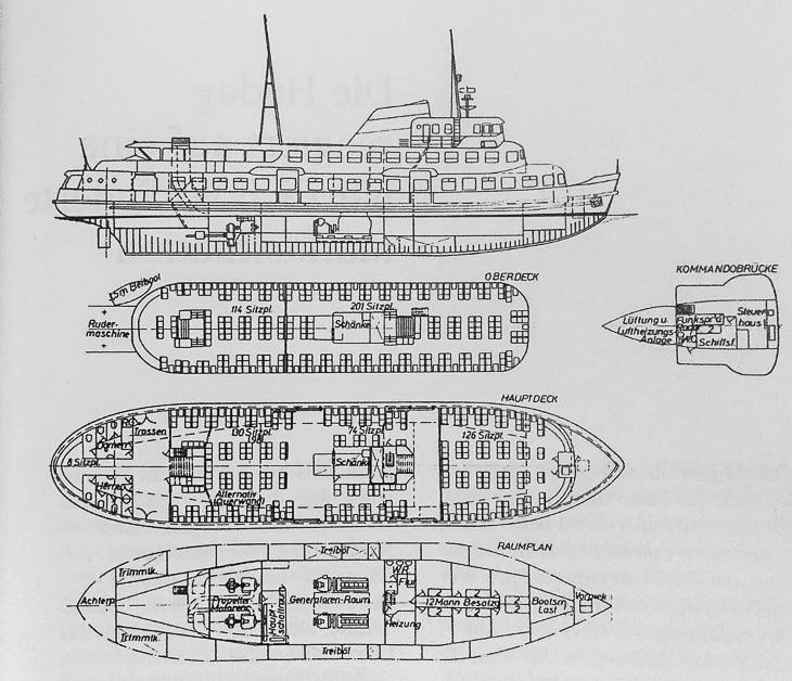 Nie realisierte Baupläne für ein riesiges HADAG-Typschiff vom Typ IV