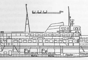 Bauplan: Zeichnung für ein Riesen-Typschiff der HADAG