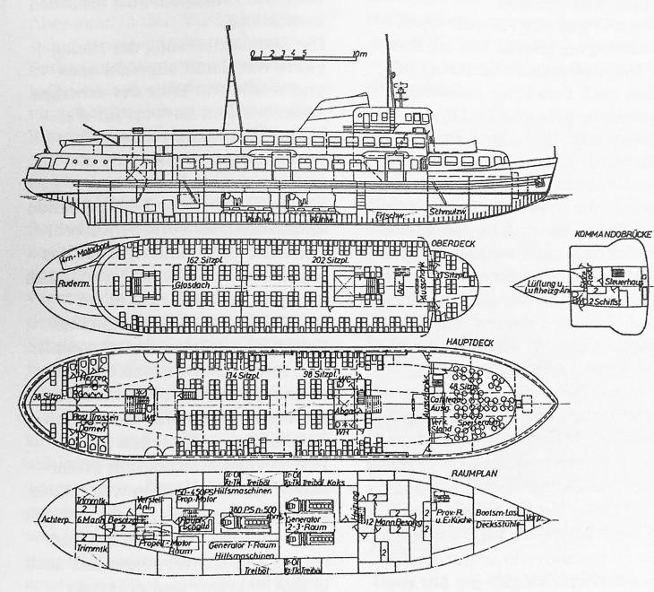 Nie realisierte Baupläne für ein riesiges HADAG-Typschiff vom Typ V