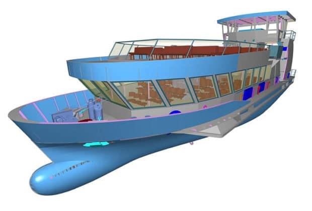 Computeranimation der künftigen HADAG-Hafenfähre ELBPHILHARMONIE
